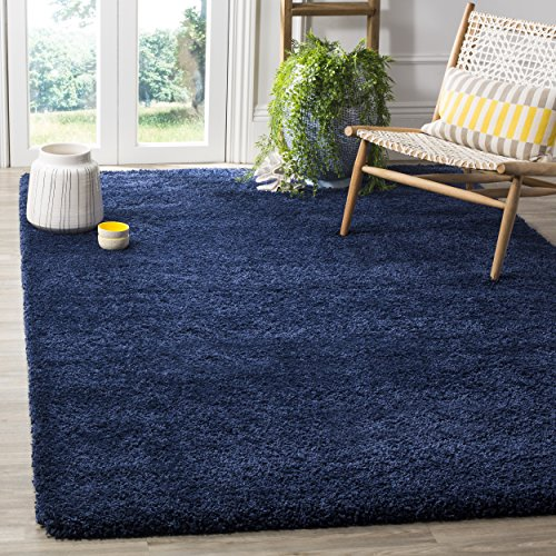 Safavieh Milan Shag Collection SG180-7070 Navy Square Area Rug (7' Square) from Safavieh