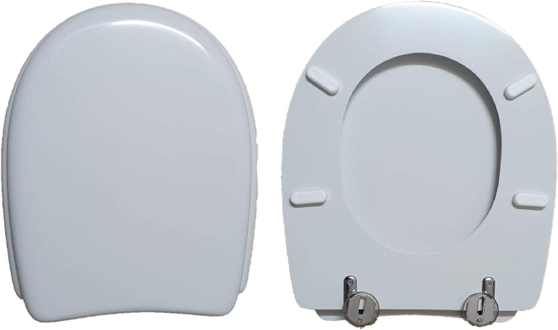 Asiento para inodoro Atlanta Roca compatible lacado blanco brillante poli/éster