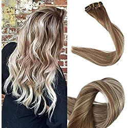 Full Shine 18 inch Clip in Balayage Hair Extensions Blonde Balayage Extensions Dip Dyed Color #6 Fading to #22 and #6 Highlighted 10 Pcs 100g Per Set