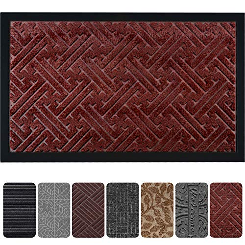 """Mibao Durable Rubber Door Mat, Waterproof Non-Slip Easy Clean Low-Profile Heavy Duty Mats for Entry, Patio, High Traffic Areas (18""""x30"""", Burgundy Irregular Lines)"""