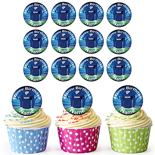 AKGifts Chelsea Football Shirts 30 Personalised Edible Cupcake Toppers / Birthday Cake Decorations - Easy Precut Circles - Chelsea Keeper Jersey