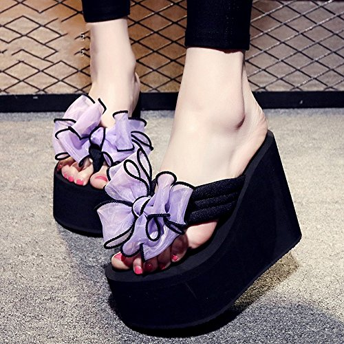 uk3 Sweet Non For 9 Sandals slip Women Eu35 Kinds Thick 4 Sand Beach 12cm Haizhen Bow Slippers Size Female Shoes Of Colors 7 cn34 Casual color wpXgqvx