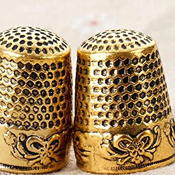 Gaetooely 2Pcs Gold Finger Thimble Sewing Grip Fingertip Protector Metal Shield Pin Needles Partner for DIY Crafts Tools Needlework