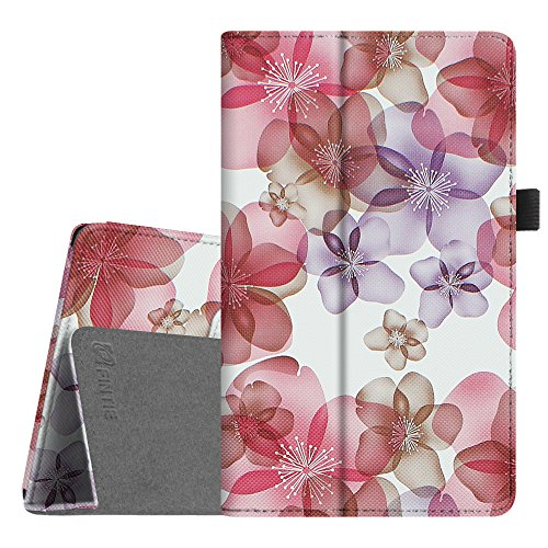 Fintie Folio Case for All-New Amazon Fire HD 8 Tablet (7th Generation, 2017 Release) - Slim Fit Premium Vegan Leather Standing Protective Cover with Auto Wake / Sleep, Floral Purple