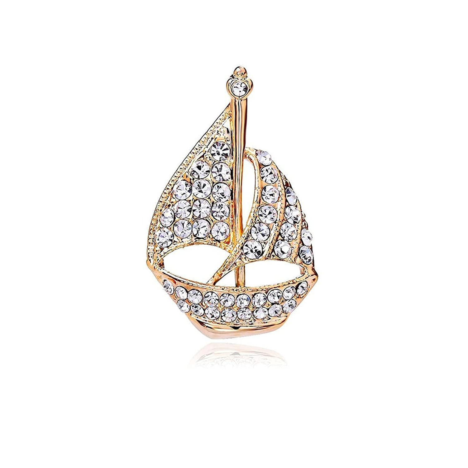 OUDUO Women's Artificial Crystal Sailboat Collar Pin Brooch Gold Tone