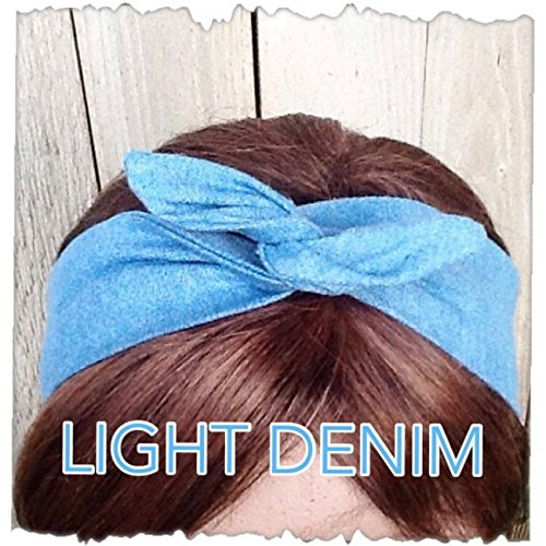 - Wired Headband Dolly Bow Light DENIM Bandanna Print Print Wired Dolly bow Rockabilly Wire Scarf Headband Rabbit Ears