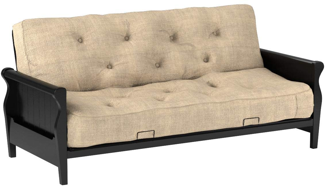 Better Homes and Gardens Wood Arm Futon with 8-Inch Coil Mattress, Oatmeal Linen by Better Homes & Gardens