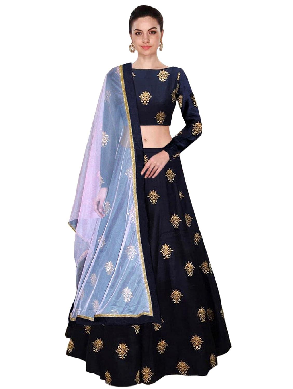 Shree Impex Women's Embroidered Taffeta Silk Semi-Stitched Lehanga Choli (All over 1, Maroon, Free Size)