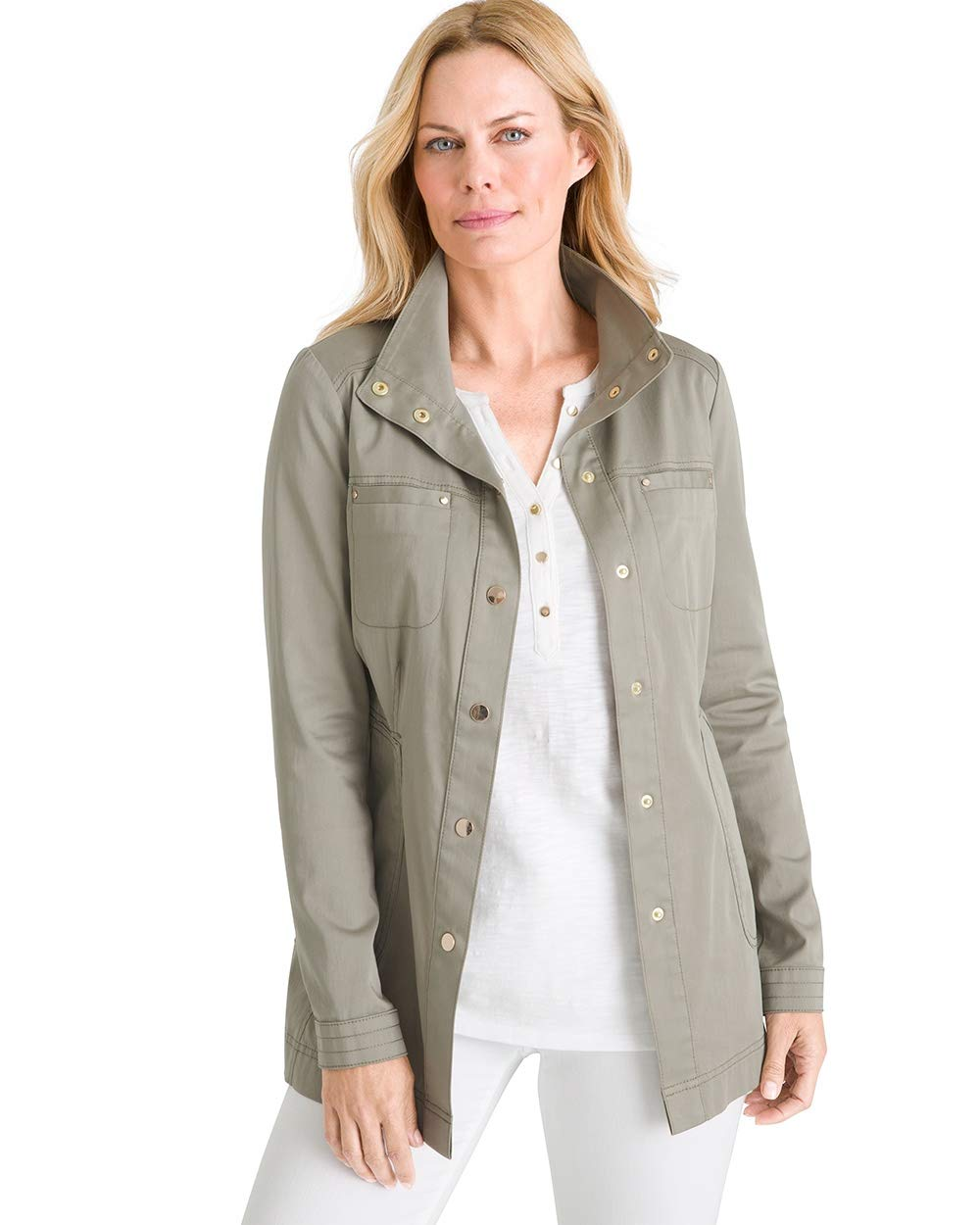 Chico's Women's Luxe Twill Utility Jacket Size 16/18 XL (3) Green