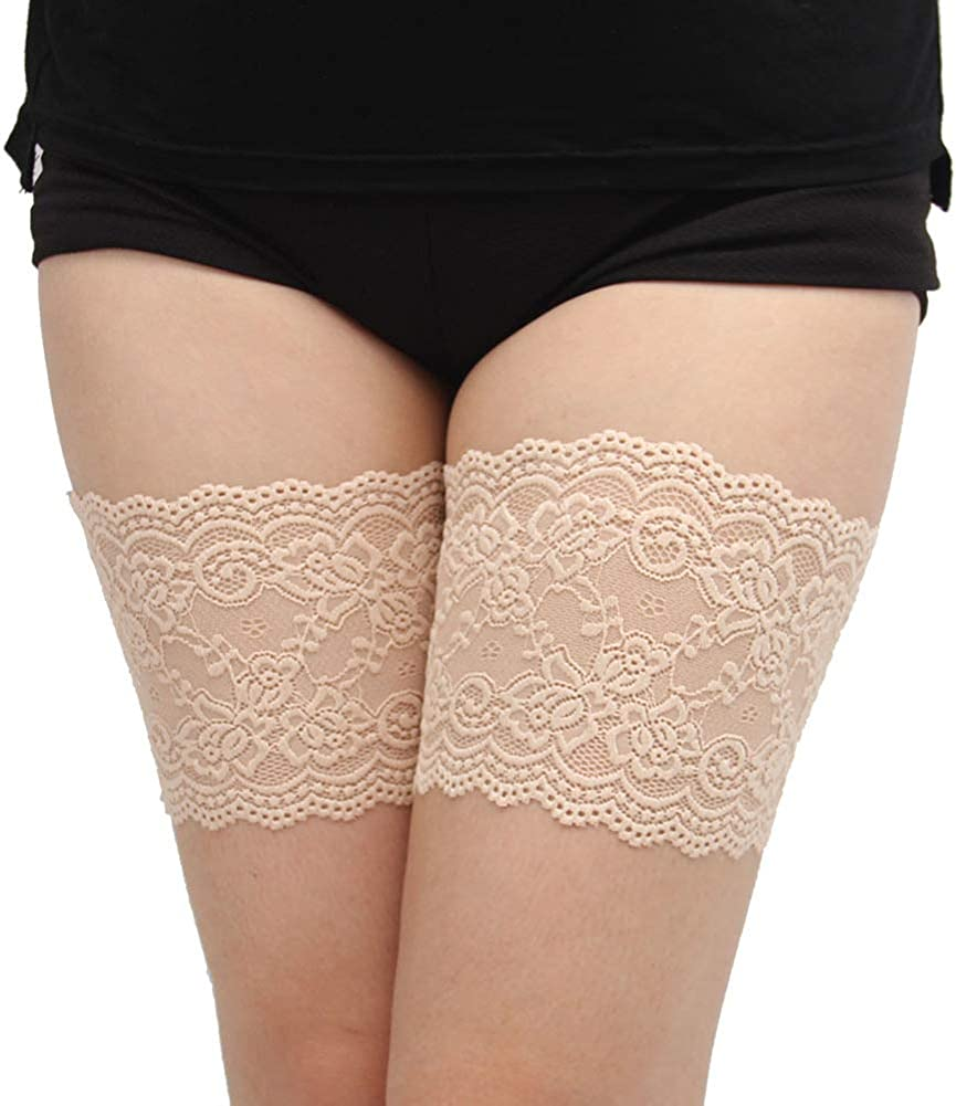KUZKAUF 2-PACK Womens Anti-Chafing Thigh Bands Elastic Lace Slicone Anti Slip Leg Bands Prevent Thigh Chafing Bands