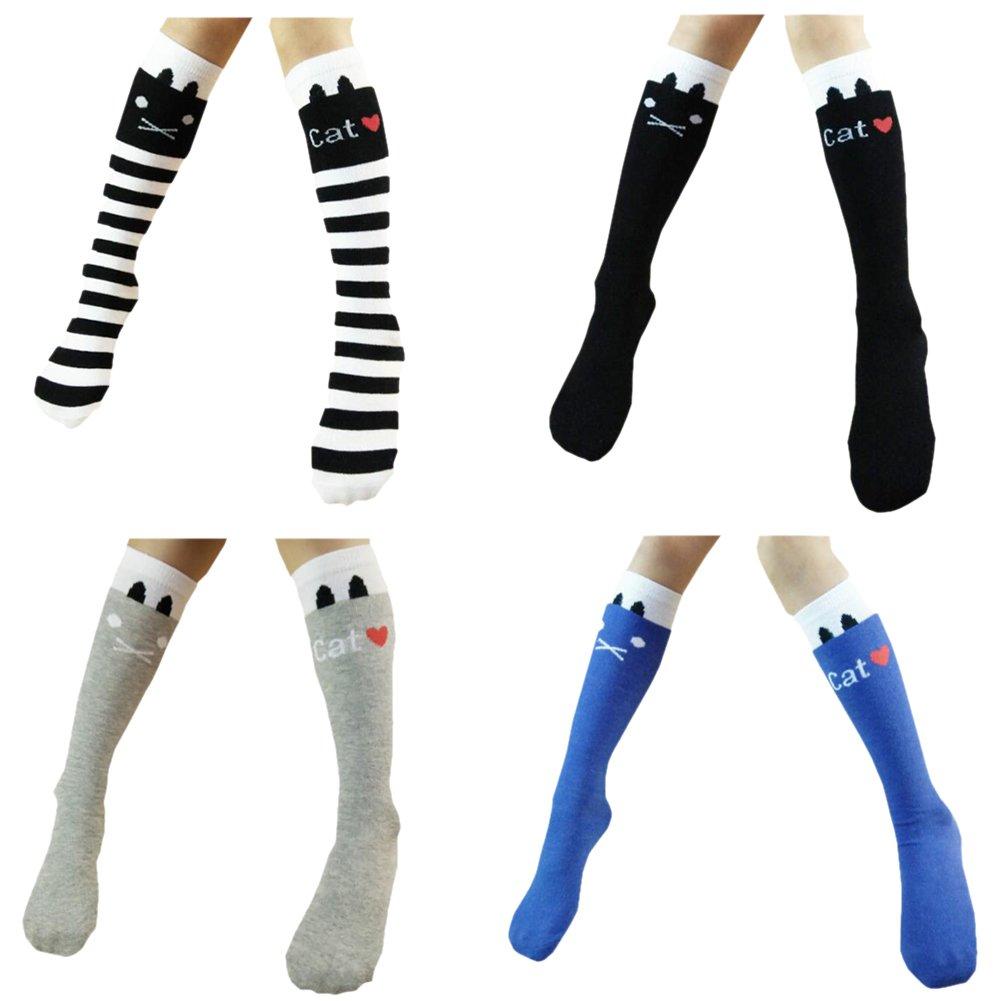 Sept.Filles Girl's Knee High Socks Cartoon Cat Stockings Socks 4 Packs SOCK-301A