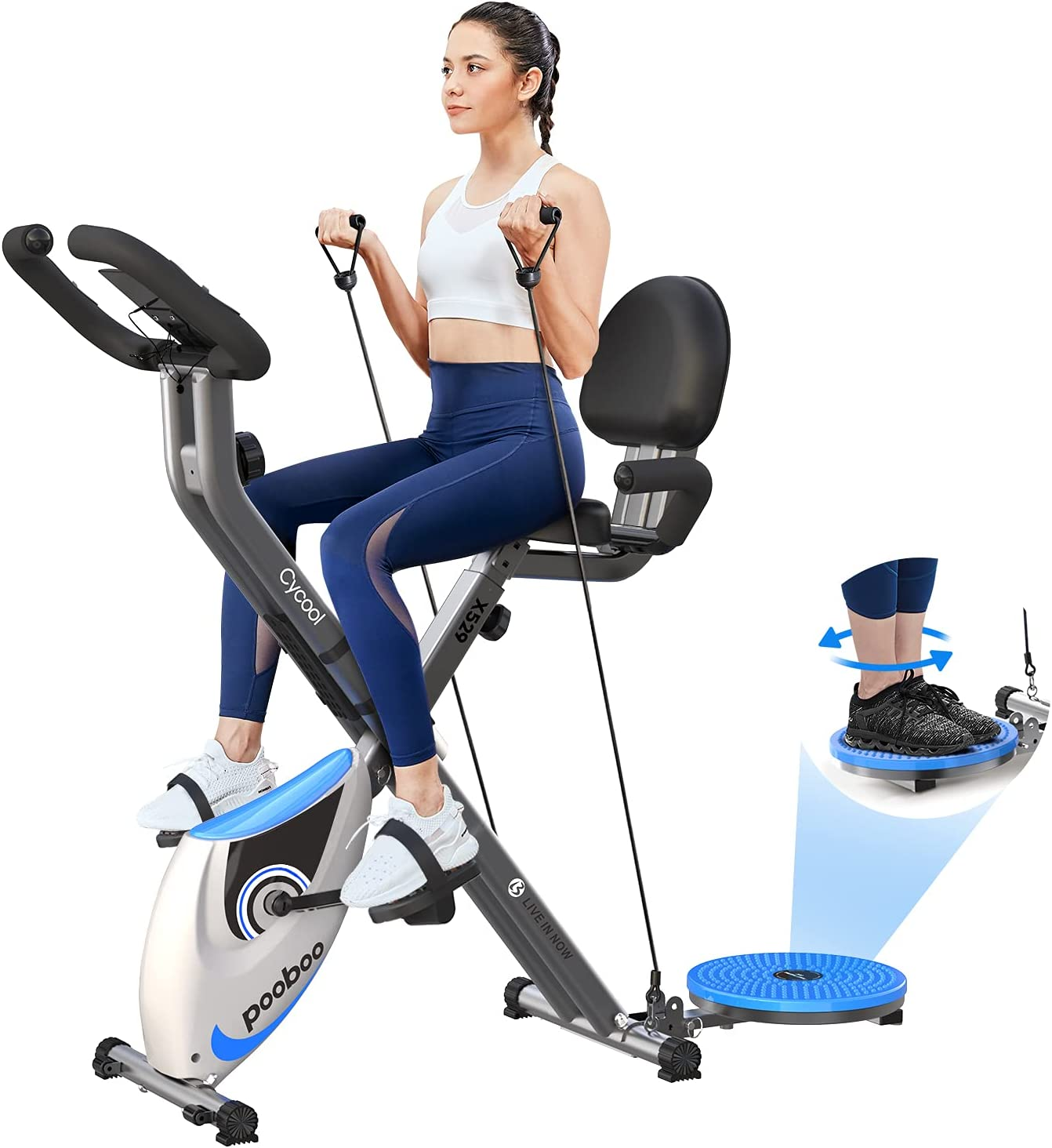 cycool Foldable Exercise Bike Magnetic Stationary Bikes Indoor Cardio Training Cycle with Comfortable Seat Cushion,Twister Plate and Arm Resistance Bands Workout Bicycle