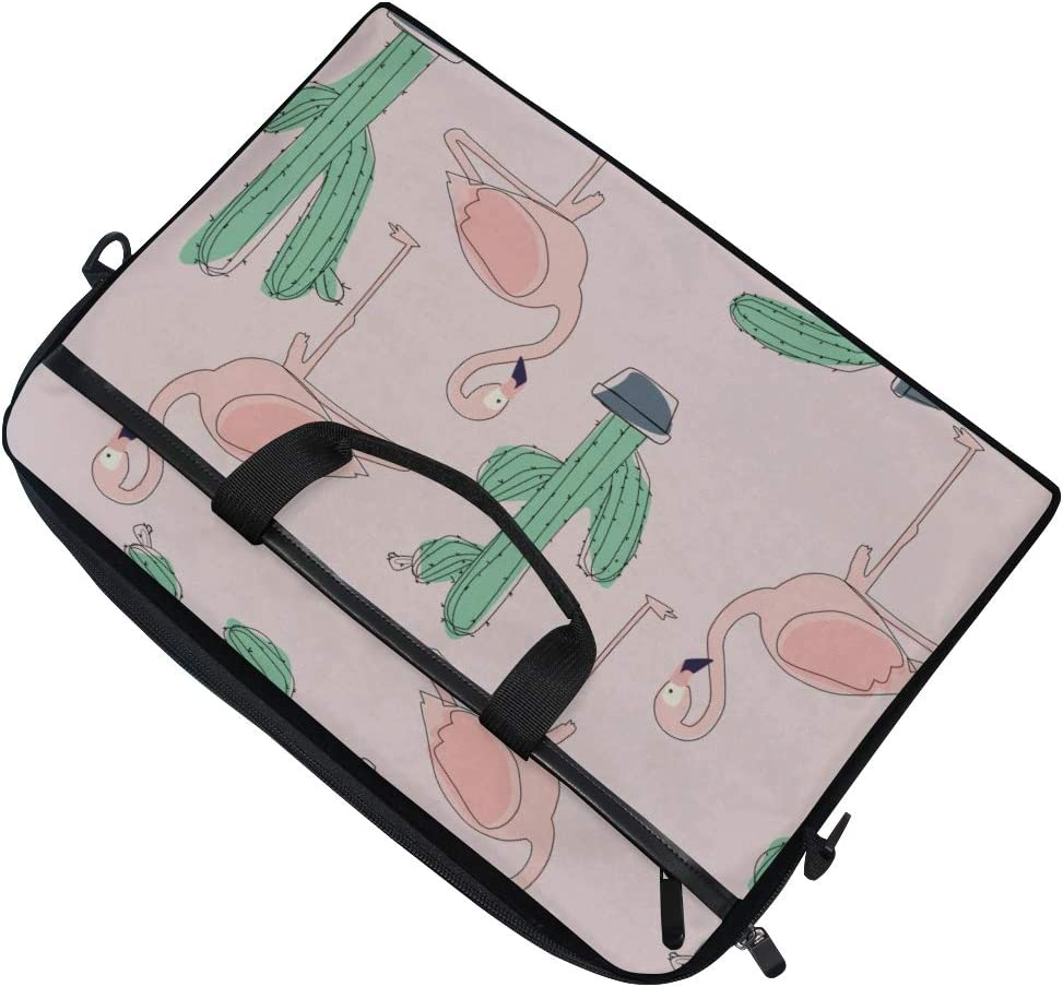 Briefcase Messenger Shoulder Bag for Men Women College Students Business P Laptop Bag Tropical Flamingo Bird Cactus Flower 15-15.4 Inch Laptop Case