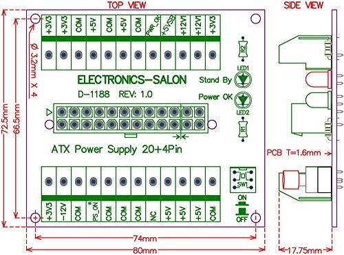 Electronics-Salon 24/20-pin ATX DC Power Supply Breakout Board ...