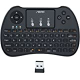 Aerb 2.4Ghz Mini Tastiera Senza Fili con Touchpad per PC, Pad, Xbox 360, PS3, Google Android TV Box, HTPC/IPTV - Nero