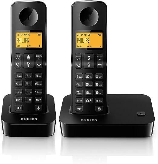 Philips D200 Duo - Teléfono Fijo Digital (inalámbrico, Pantalla LCD, Manos Libres), Negro (Importado): Amazon.es: Electrónica