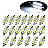CTKcom 10-Pack 42mm 8SMD 5050 LED Bulbs White Festoon Interior Dome Map Lights,Car Lamp Bulbs Used For Dome light,Xenon White,Map Light,Door Light,DC/12V,10pcs