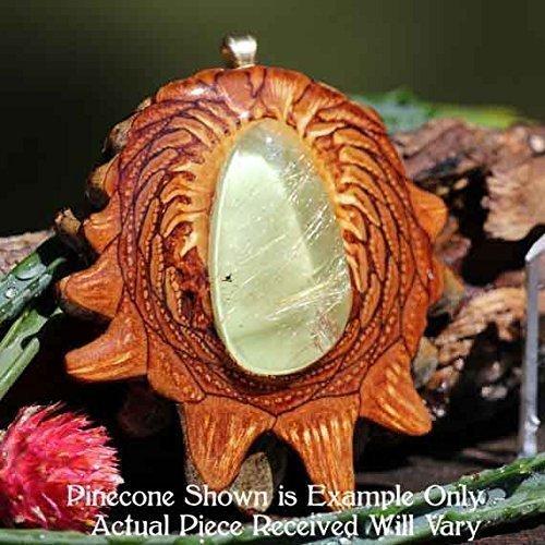 Glowing Rutilated Quartz Third Eye Pinecone Pendant by Third Eye Pinecones