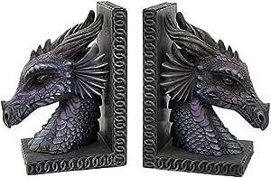Gothic Purple Dragon Bookends Mystic Book Ends Set Evil