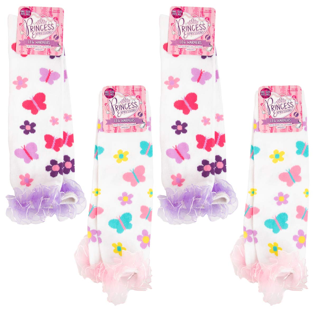 Princess Expressions 4 Pack Baby-Toddler Girls Leg Warmers Patterned Dance Ruffles