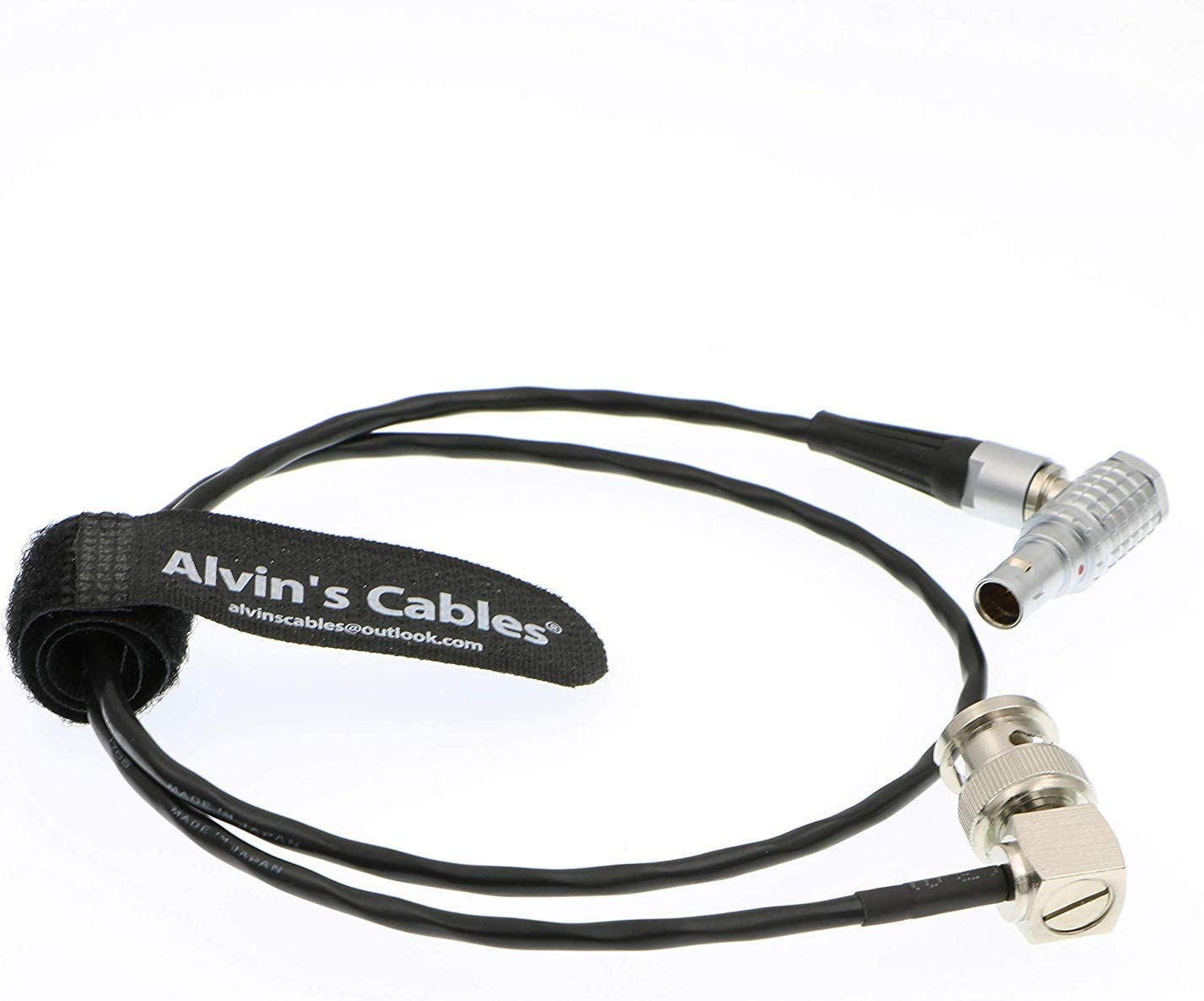 Alvins Cables 5 Pin Male Right Angle to BNC Right Angle SMPTE Time Code Out Cable for ARRI Mini Sound Devices ZAXCOM