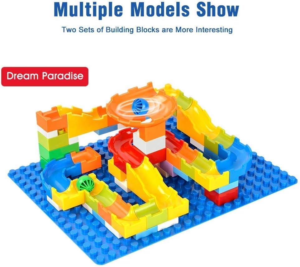 52pcs Marble Race Run Maze Balls Track Big Size Building Blocks Kids Construction Educational Toys Compatible with Duplo /…