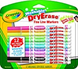 Crayola Washable Dry-Erase Fine Line Markers, 12 Classic Crayola Colors Non-Toxic Art Tools for Kids & Toddlers 3 & Up, Easy Clean Up, Won't Stain Hands or Clothes, Gr
