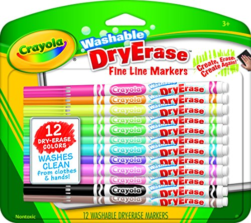Crayola; Washable Dry-Erase Markers; Art Tools; 12 ct.; Fine Line;; Easy Erase; Bright, Bold Colors