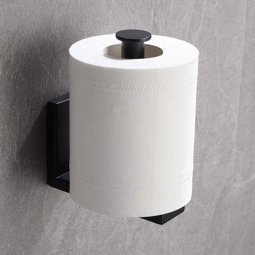 Homovater dise/ño moderno acabado cromado Portarrollos de papel higi/énico de acero inoxidable 304 negro mate