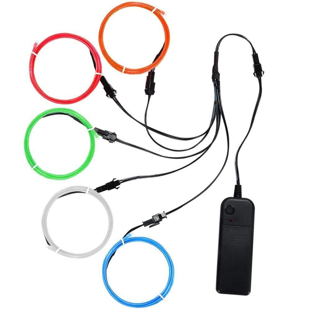 Litake EL Wire Fil Kit,5x1m Neon Light 3 modes d'éclairage Alimenté par batterie Fil électroluminescent Lumière décorative stroboscopique pour Noël Fête Pub