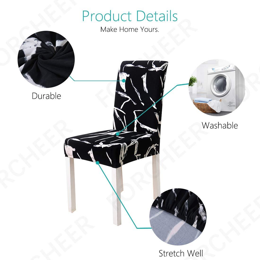 MaxDecro Housses de Chaise pour Salle /à Manger Protecteurs Amovibles lavables pour chaises Hautes 4 PCS