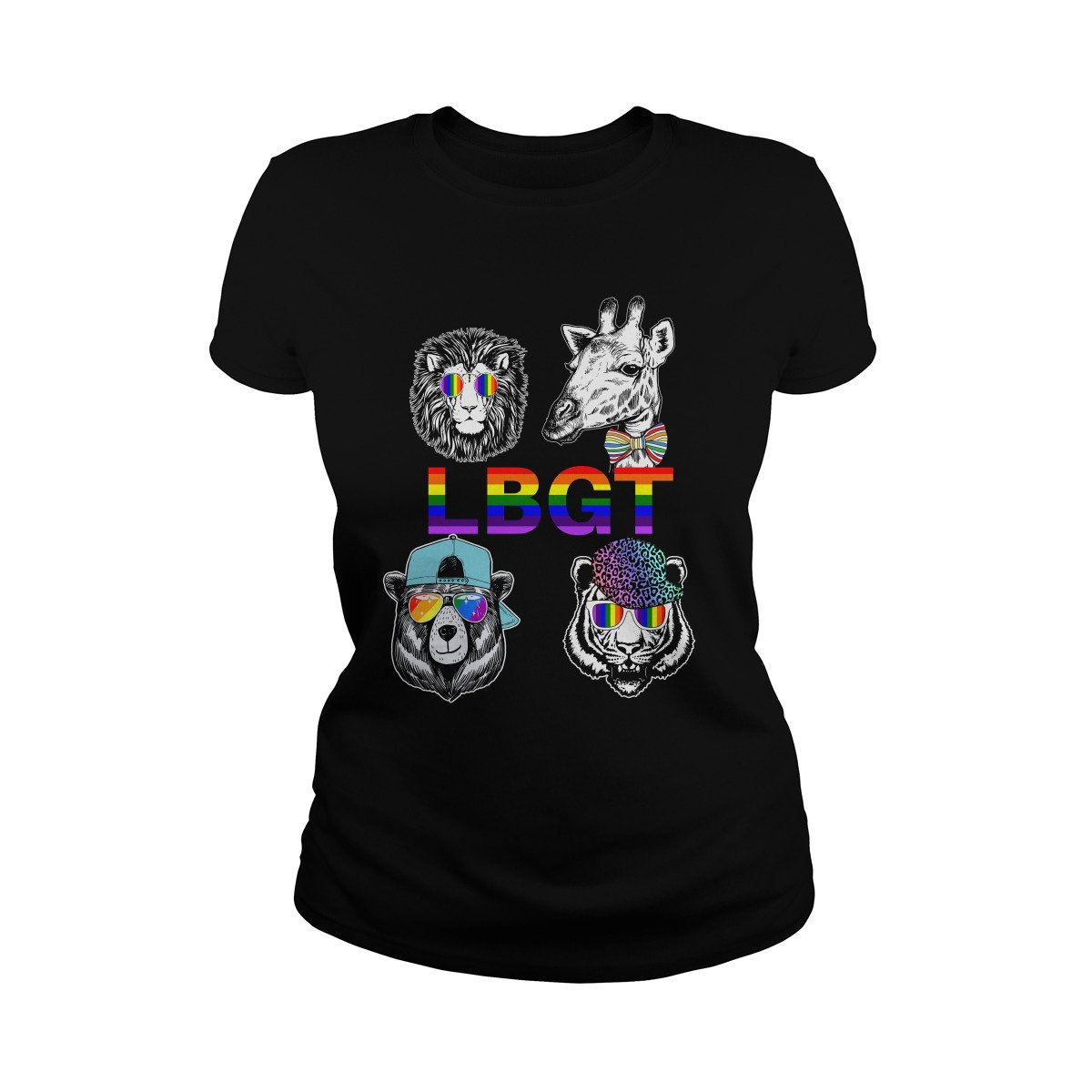 Lion Giraffe Bear Tiger Rainbow Style LGBT T-Shirt
