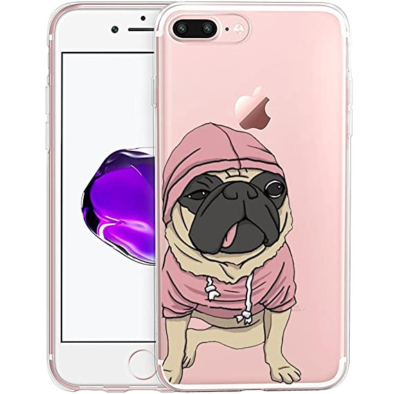 premium selection d1fa2 37de6 Pink Pugs Clear Phone Case for iPhone 7 Plus 5.5 Customized Design by  MERVELLE TPU Clear case [Ultra Slim, Anti-Slippery]