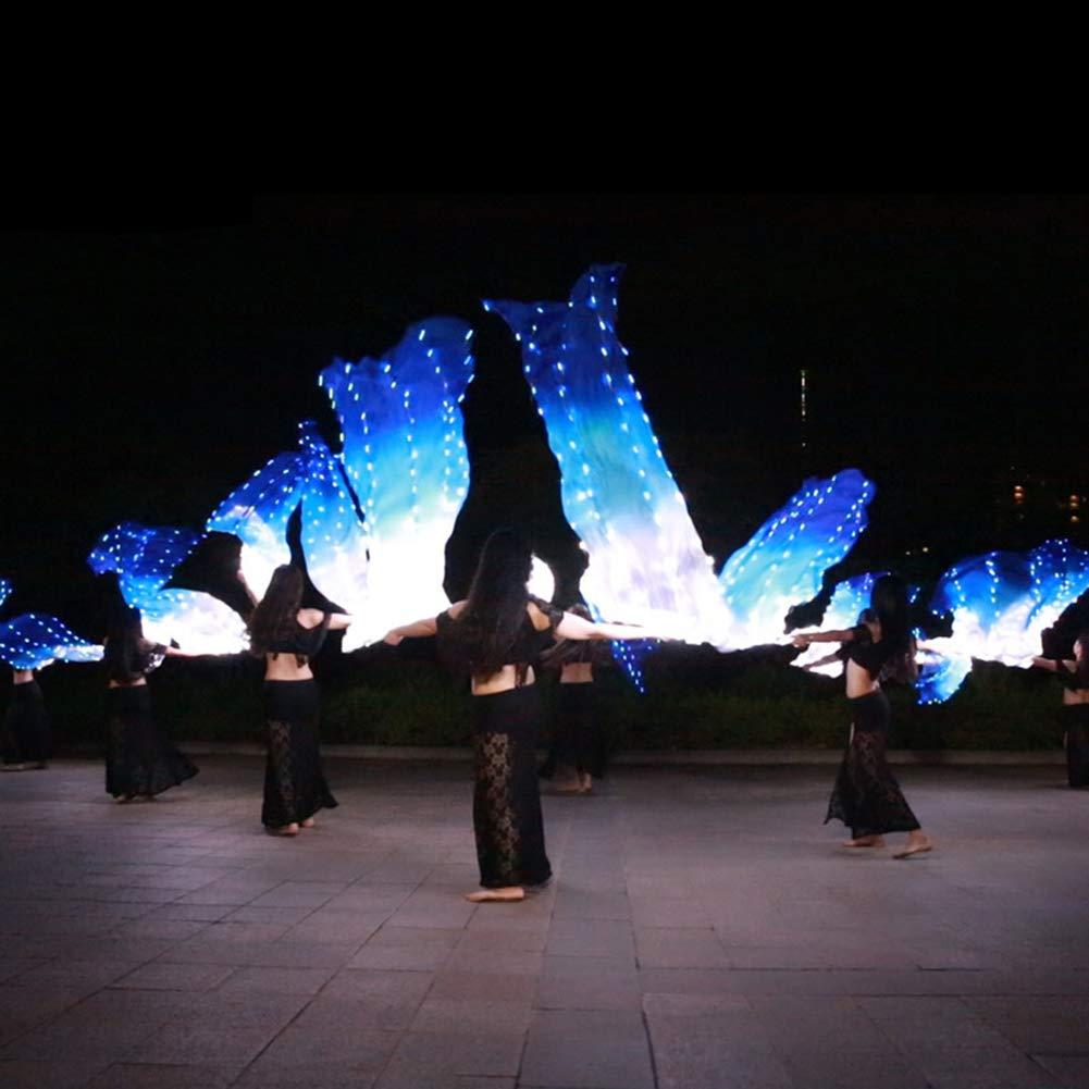 Ledシルクファンベールベリーダンスライトパーティーステージ小道具用大人のダンス衣装アクセサリーダンス/屋外1.8メートル* 0.9メートル,ブルー,1Pair 青 1Pair