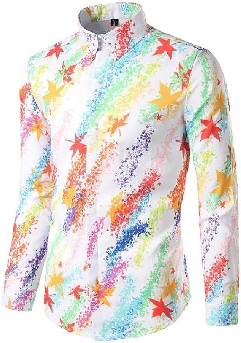 Joe Wenko Men Basic Floral Printed Curved Hem Lapel Neck Button Down Shirts