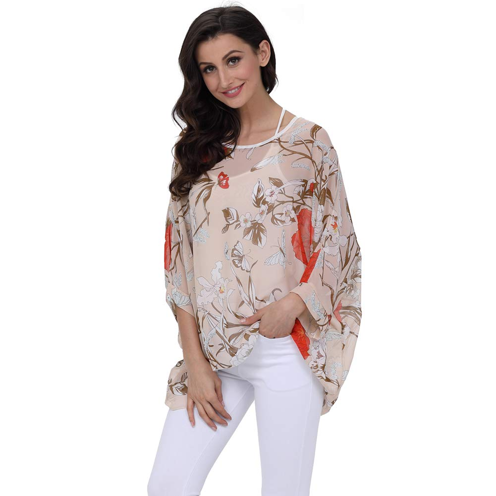 cfeed854a2 Wiwish Women's Bohemian Style Batwing Sleeve Butterfly Printed Chiffon  Caftan Poncho Tunic Top Beach Loose Shirt at Amazon Women's Clothing store: