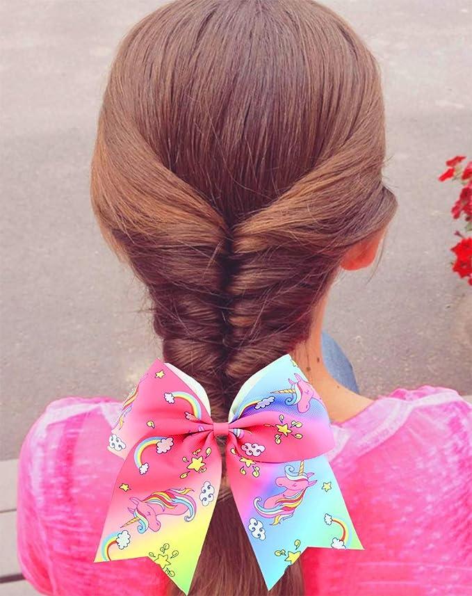 Arco de coleta con unicornio arcoíris para niñas, banda elástica ...