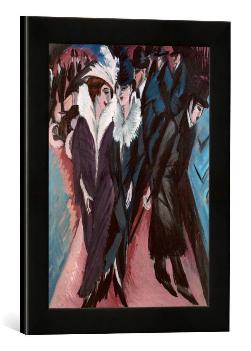 Gerahmtes Bild von Ernst Ludwig Kirchner Die Strasse, Kunstdruck im hochwertigen handgefertigten Bilder-Rahmen, 30x40 cm, Schwarz matt