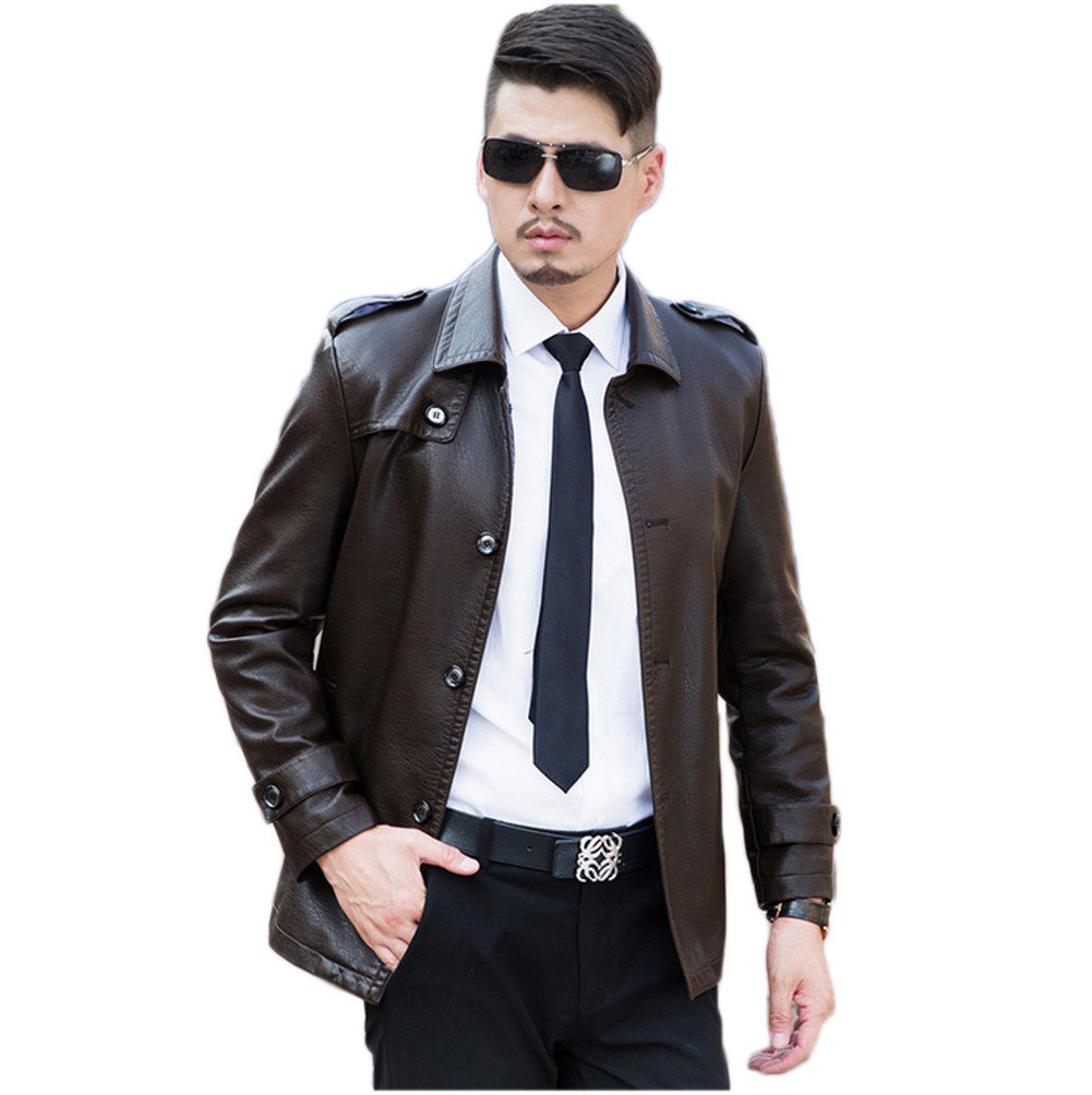 Love Dress Slim Fit Mens Leather Jacket Winter and Autumn Warm Coats Brown XXL