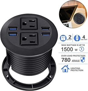 Desktop Power Grommet with USB,Hidden Power Socket. Desk Hole Grommet Outlet,Easy Access to 2 power Source Along with 4 USB Power Port Connections(4 USB Ports)