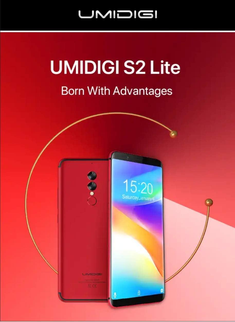 UMIDIGI S2 Lite - HD da 5,99 pollici (schermo intero 18: 9) Smartphone Android 7.0 4G, riconoscimento facciale, batteria da 5100 mAh, Octa Core da 1,5 GHz 4 GB + 32 GB, - Rosso