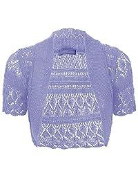 Thever Women Short Sleeve Knitted Crochet Shrug Bolero Cardigan Ladies Crop Top Black