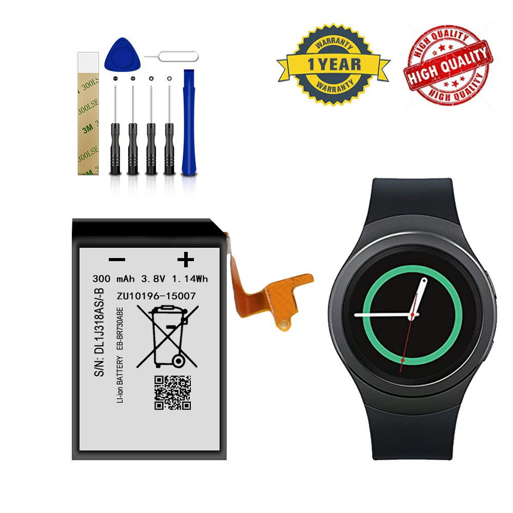 for Samsung Gear S2 Battery, Smartwatch SM-730, R730V, R730A, R730S, R730T, R735A, R600 Replacement Battery EB-BR730ABE Free Adhesive Tool by DDONG