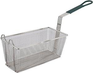 Winco FB-30, 13.25 x 6.5 x 5.9-Inch Nickel Plated Fry Basket with Plastic Green Handle, Deep Fryer Basket