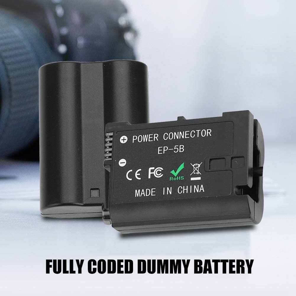 Black-US EN-EL15 Dummy Battery EP-5B DC Coupler with Power Coupler Charger for Nikon D800 D810 D500 D600 D610 D750