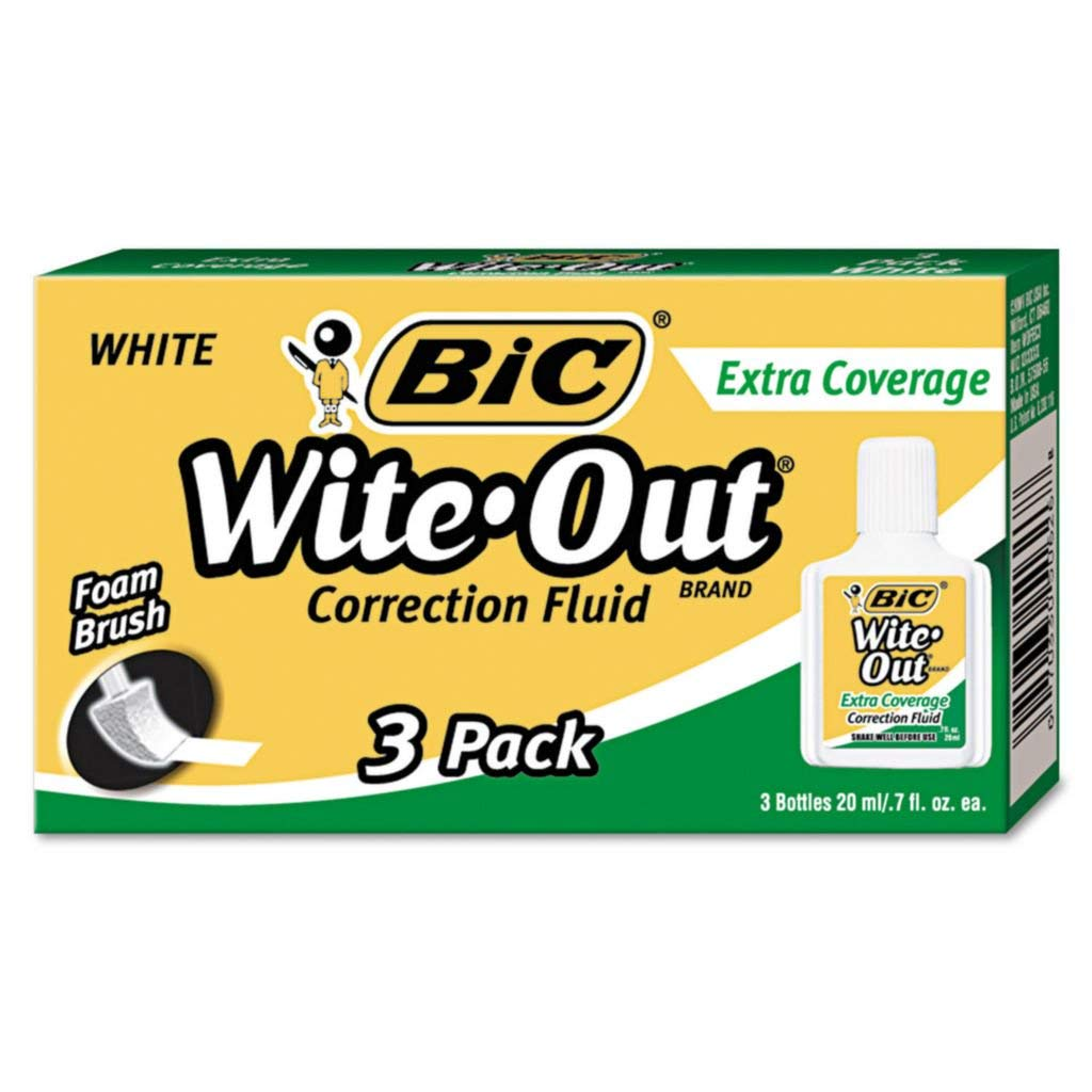 BICWOFEC12WE - Correction Fluid Type : Foam Applicator - BIC Wite-Out Brand Extra Coverage Correction Fluid - Dozen