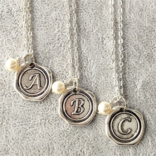 (Wax Seal custom,Kids initial necklace,personalized bridesmaids gifts,monogram necklace with pearl)