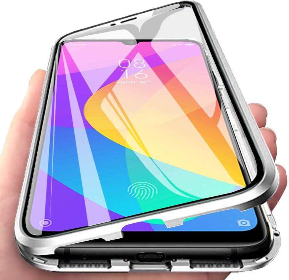 JoiCase Funda para Xiaomi Mi A3 Adsorcion Magnetica Carcasa 360 Grado Protección Estuche Marco Aluminio Untre Delgada Háptico Vidrio Templado Anti Choque Metal Flip Cover
