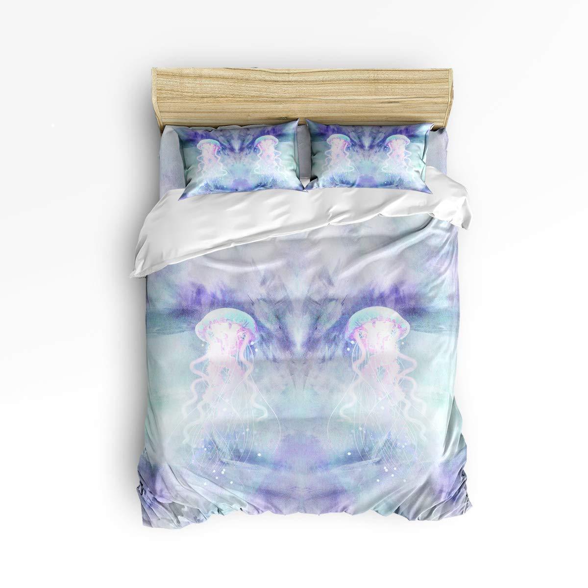 YEHO アートギャラリー キングサイズ 掛け布団カバー4点セット ジッパー付き かわいいソフトベッドシーツセット 美しいクラゲ模様 掛け布団カバー 寝具セット 掛け布団カバー1枚+ベッドシーツ1枚+枕カバー2枚 B07KWCFQ1Y