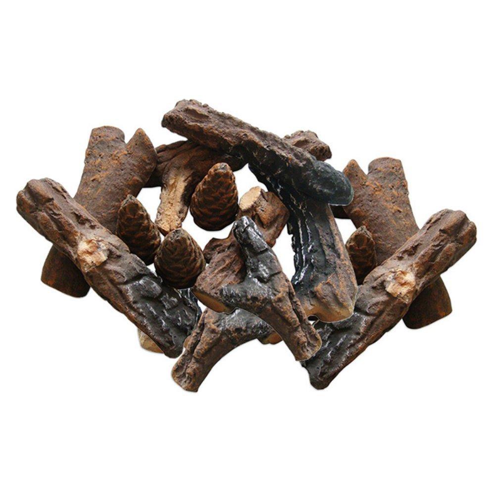 Moda Flame GBA1018 18 PC Ceramic Fireplace Wood Log Set